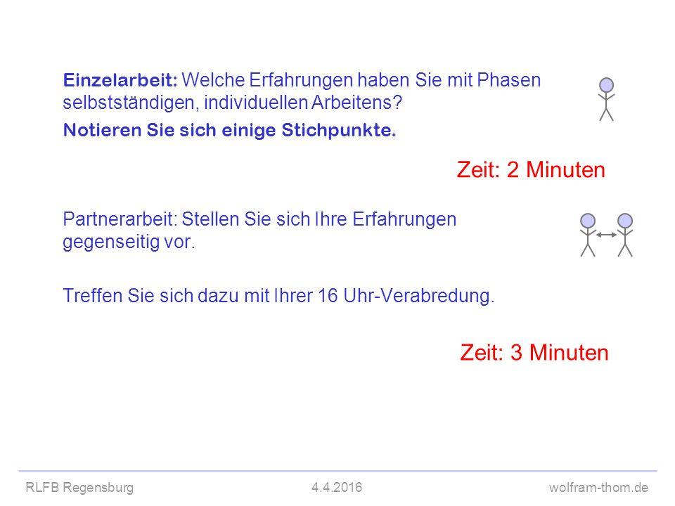 RLFB Regensburg4.4.2016wolfram-thom.de Partnerarbeit: Stellen Sie sich Ihre Erfahrungen gegenseitig vor. Treffen Sie sich dazu mit Ihrer 16 Uhr-Verabr
