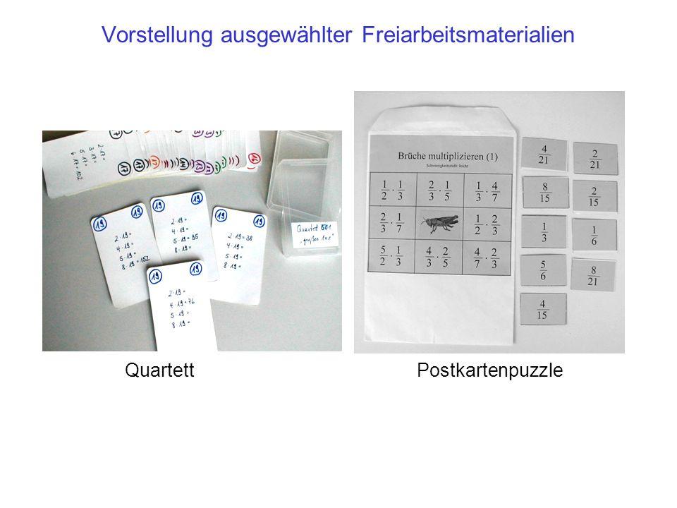 Vorstellung ausgewählter Freiarbeitsmaterialien QuartettPostkartenpuzzle