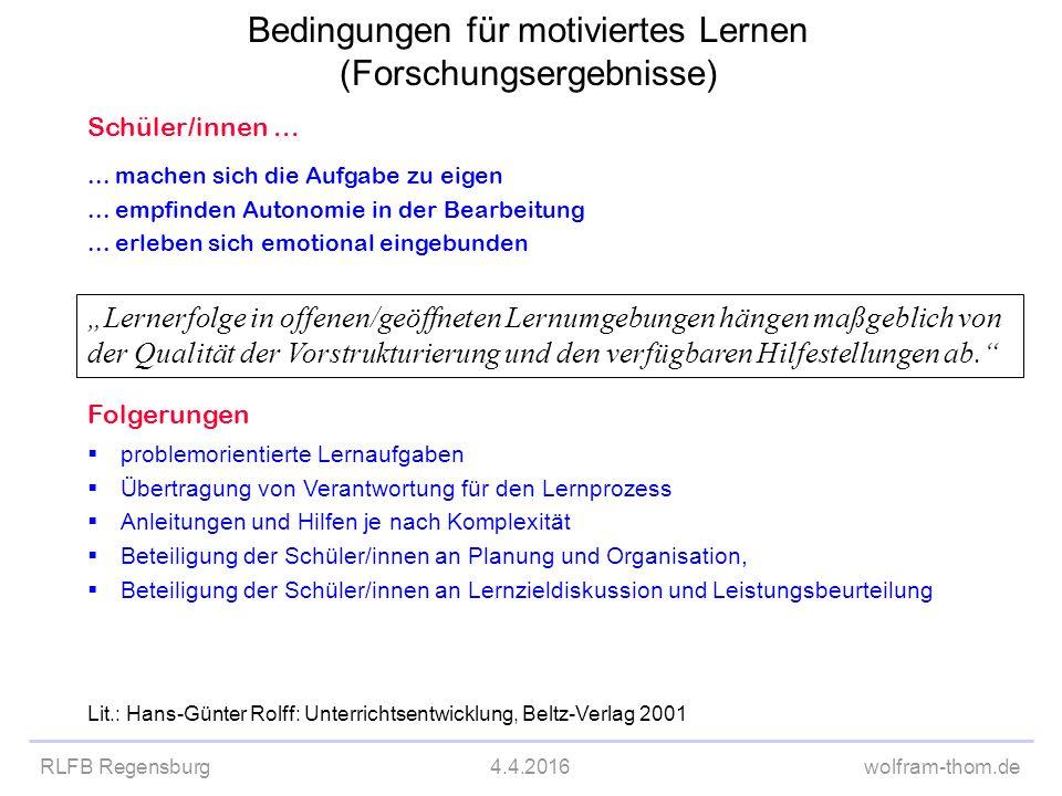 RLFB Regensburg4.4.2016wolfram-thom.de Schüler/innen...... machen sich die Aufgabe zu eigen... empfinden Autonomie in der Bearbeitung... erleben sich