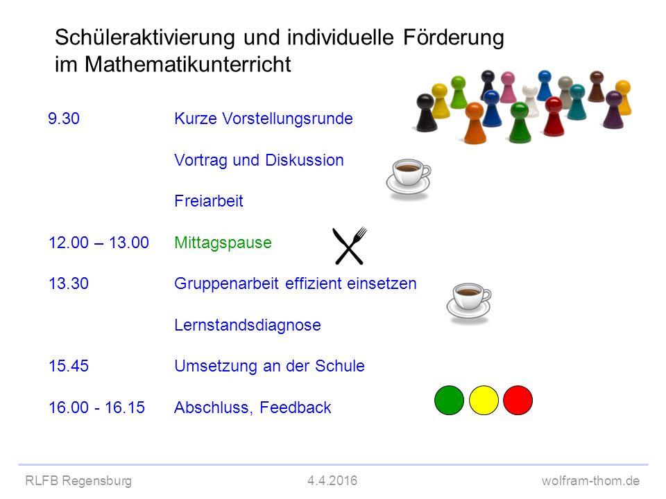 RLFB Regensburg4.4.2016wolfram-thom.de Schüleraktivierung und individuelle Förderung im Mathematikunterricht 9.30Kurze Vorstellungsrunde Vortrag und D