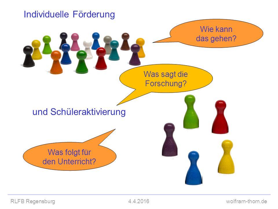 RLFB Regensburg4.4.2016wolfram-thom.de Individuelle Förderung und Schüleraktivierung Was sagt die Forschung? Was folgt für den Unterricht? Wie kann da
