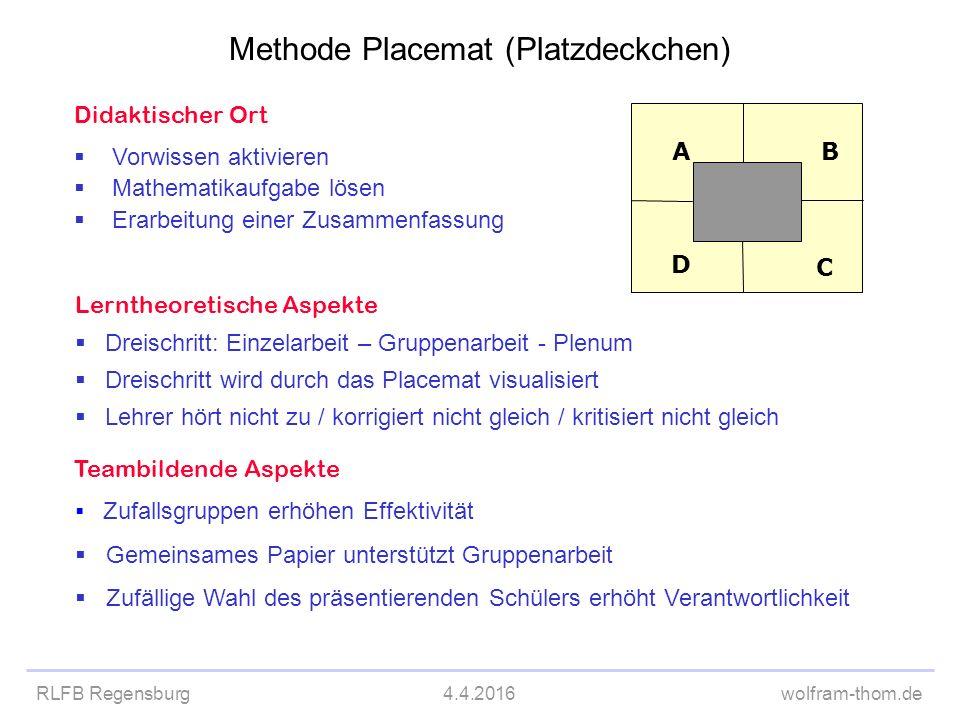 RLFB Regensburg4.4.2016wolfram-thom.de Didaktischer Ort  Vorwissen aktivieren  Mathematikaufgabe lösen  Erarbeitung einer Zusammenfassung Lerntheor