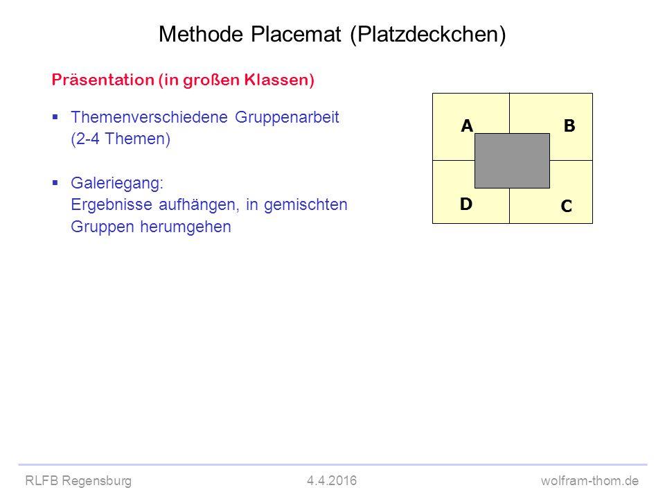 RLFB Regensburg4.4.2016wolfram-thom.de Präsentation (in großen Klassen)  Themenverschiedene Gruppenarbeit (2-4 Themen)  Galeriegang: Ergebnisse aufh