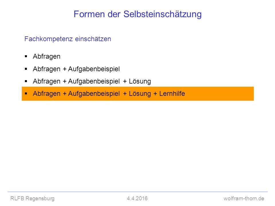 RLFB Regensburg4.4.2016wolfram-thom.de Formen der Selbsteinschätzung Fachkompetenz einschätzen  Abfragen  Abfragen + Aufgabenbeispiel  Abfragen + A