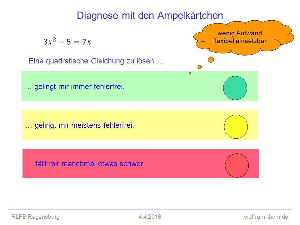 RLFB Regensburg4.4.2016wolfram-thom.de Diagnose mit den Ampelkärtchen … gelingt mir meistens fehlerfrei. … gelingt mir immer fehlerfrei. … fällt mir m