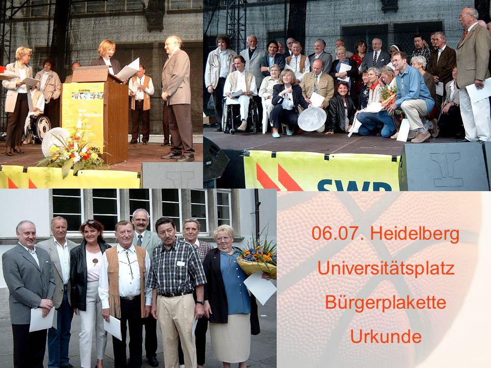 06.07. Heidelberg Universitätsplatz Bürgerplakette Urkunde