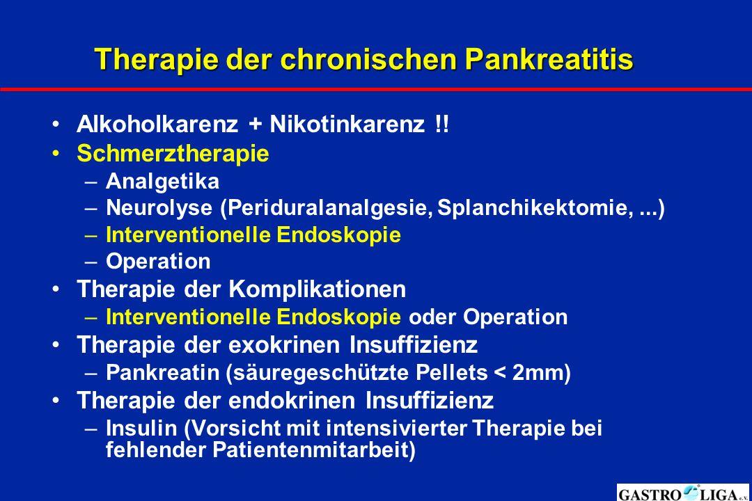 Therapie der chronischen Pankreatitis Alkoholkarenz + Nikotinkarenz !.