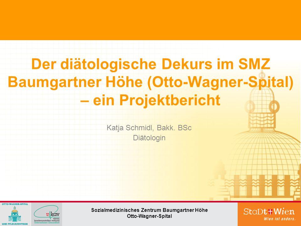 Der diätologische Dekurs im SMZ Baumgartner Höhe (Otto-Wagner-Spital) – ein Projektbericht Sozialmedizinisches Zentrum Baumgartner Höhe Otto-Wagner-Spital Katja Schmidl, Bakk.