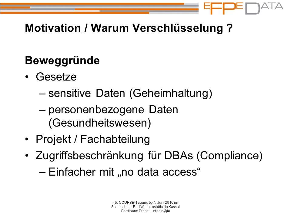 Motivation / Warum Verschlüsselung . 45. COURSE-Tagung 5.-7.