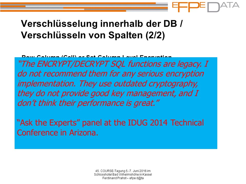 DB2 native encryption / Highlights 45.COURSE-Tagung 5.-7.