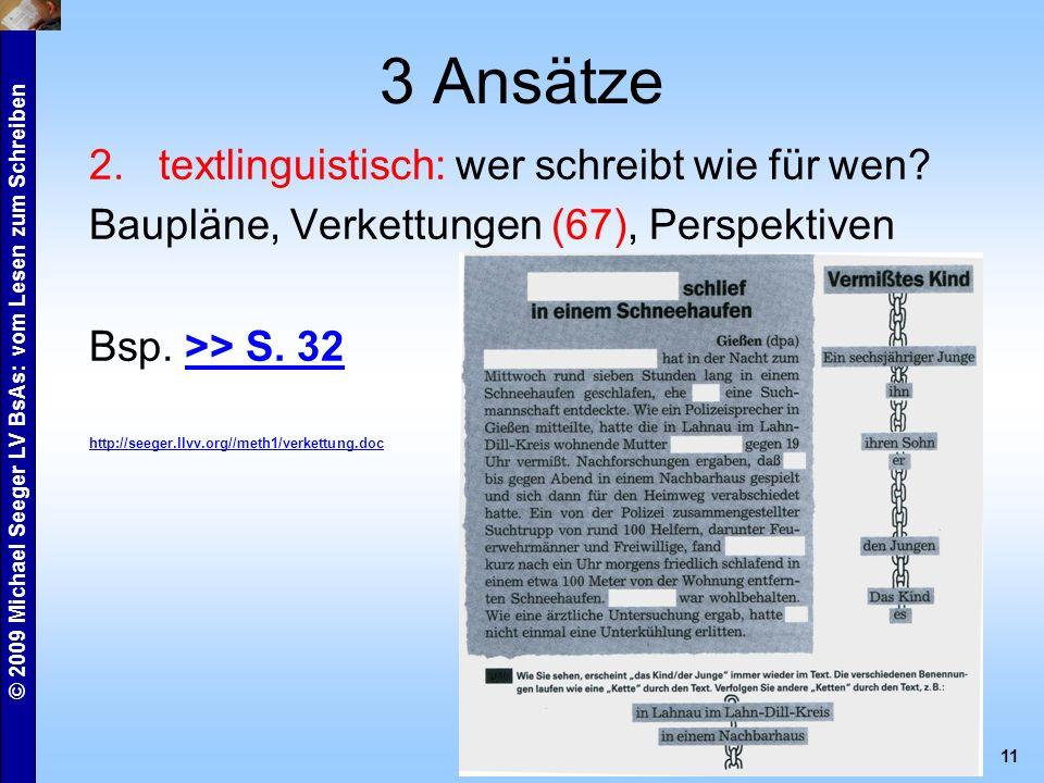 © 2009 Michael Seeger LV BsAs: vom Lesen zum Schreiben 11 3 Ansätze 2.textlinguistisch: wer schreibt wie für wen.