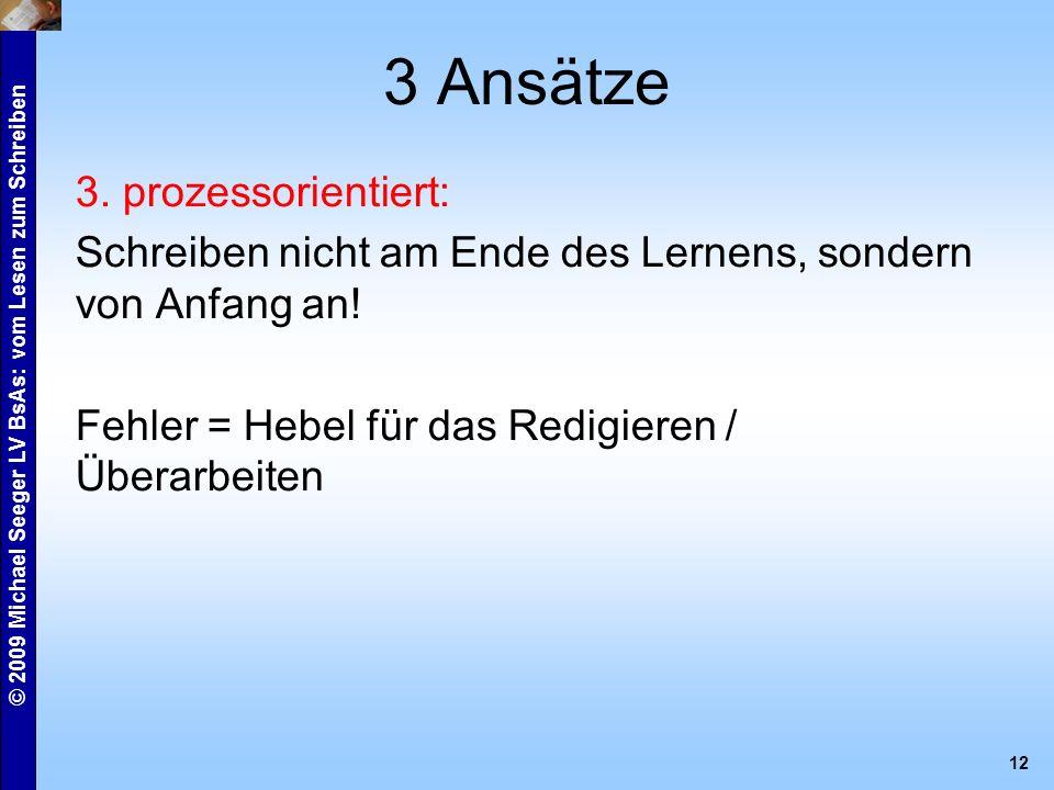 © 2009 Michael Seeger LV BsAs: vom Lesen zum Schreiben 12 3 Ansätze 3.