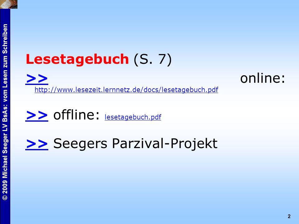 © 2009 Michael Seeger LV BsAs: vom Lesen zum Schreiben 2 Lesetagebuch (S.