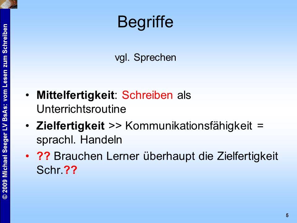 © 2009 Michael Seeger LV BsAs: vom Lesen zum Schreiben 6 A kommunikative Bedeutung formeller Brief informeller Brief Formulare Kurzmitteilungen
