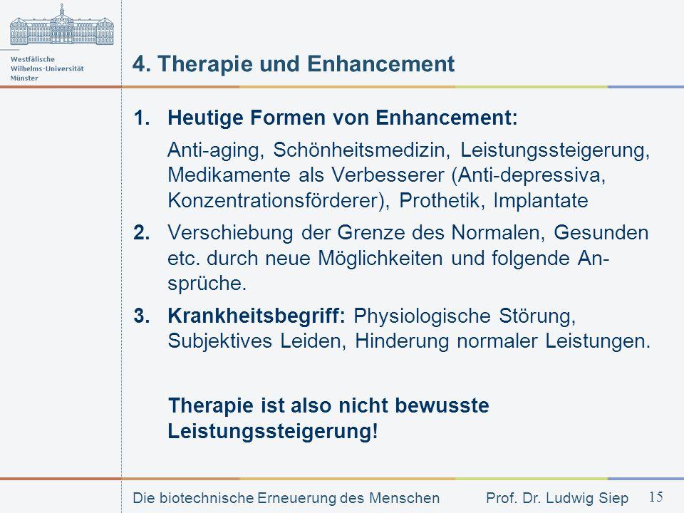 Die biotechnische Erneuerung des Menschen Prof. Dr. Ludwig Siep 15 4. Therapie und Enhancement 1.Heutige Formen von Enhancement: Anti-aging, Schönheit