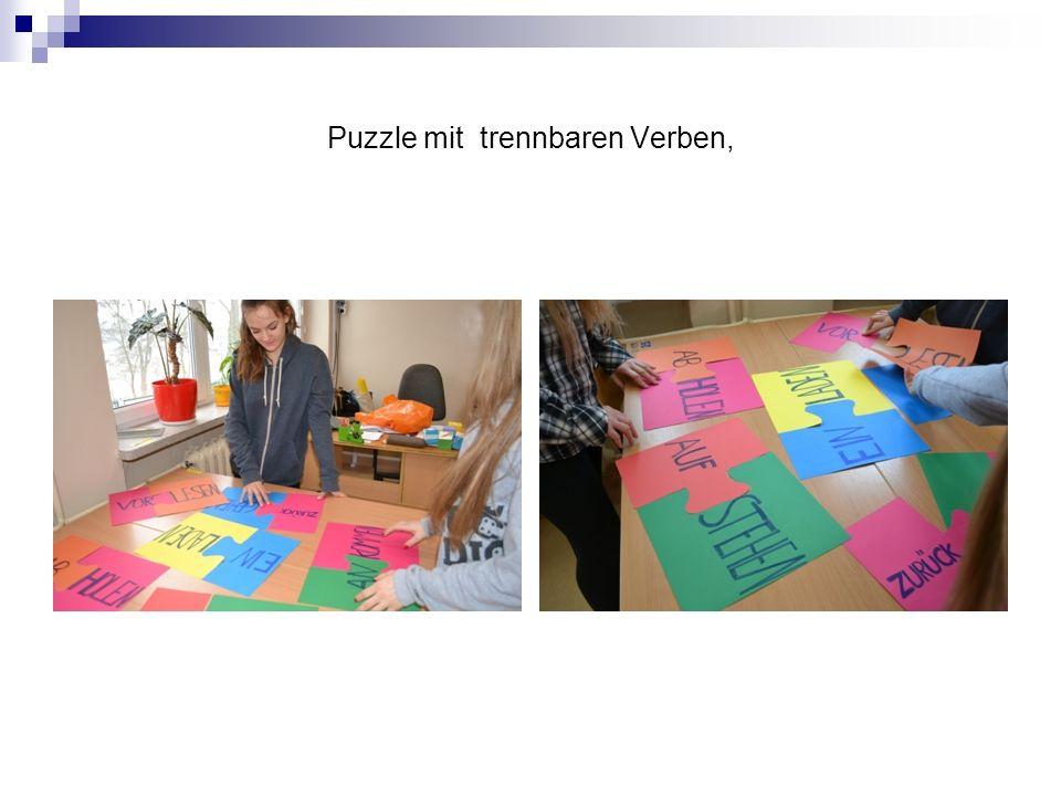 Puzzle mit trennbaren Verben,