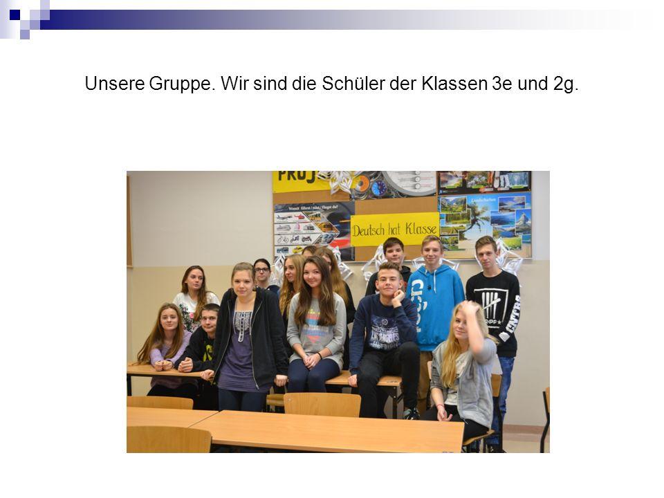 Unsere Gruppe. Wir sind die Schüler der Klassen 3e und 2g.