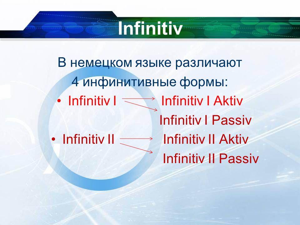 Infinitiv В немецком языке различают 4 инфинитивные формы: Infinitiv I Infinitiv I Aktiv Infinitiv I Passiv Infinitiv II Infinitiv II Aktiv Infinitiv II Passiv