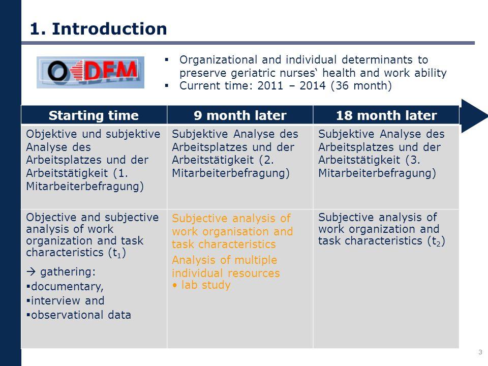 1. Introduction 3 Starting time9 month later18 month later Objektive und subjektive Analyse des Arbeitsplatzes und der Arbeitstätigkeit (1. Mitarbeite