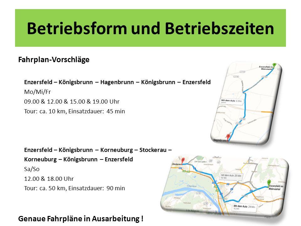 Betriebsform und Betriebszeiten Fahrplan-Vorschläge Enzersfeld – Königsbrunn – Hagenbrunn – Königsbrunn – Enzersfeld Mo/Mi/Fr 09.00 & 12.00 & 15.00 & 19.00 Uhr Tour: ca.