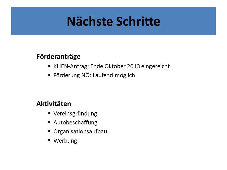 Nächste Schritte Förderanträge  KLIEN-Antrag: Ende Oktober 2013 eingereicht  Förderung NÖ: Laufend möglich Aktivitäten  Vereinsgründung  Autobeschaffung  Organisationsaufbau  Werbung