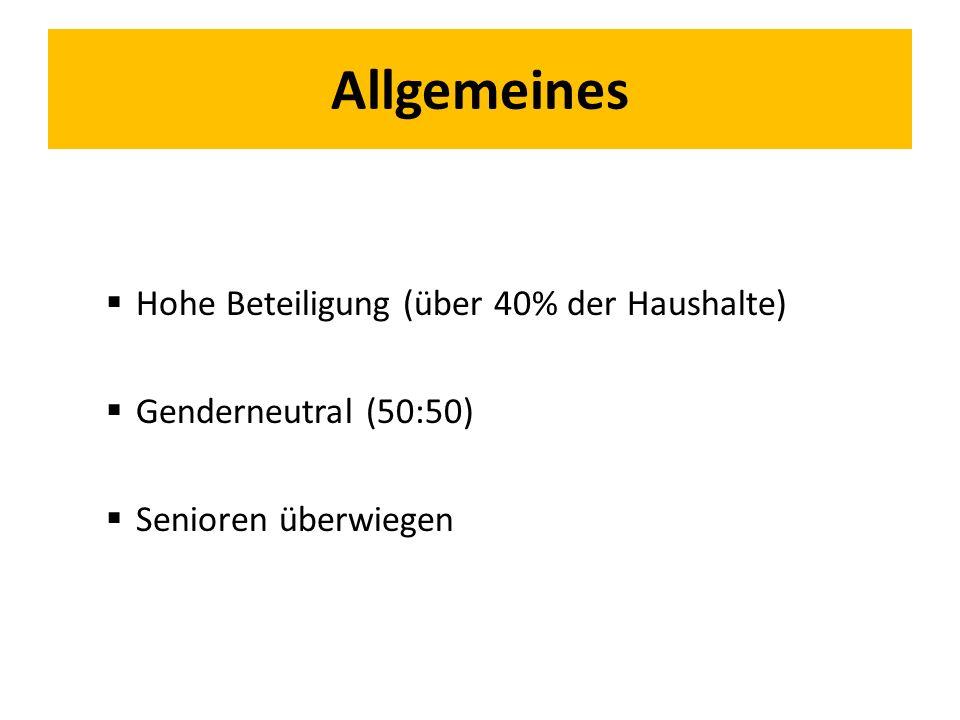 Allgemeines  Hohe Beteiligung (über 40% der Haushalte)  Genderneutral (50:50)  Senioren überwiegen