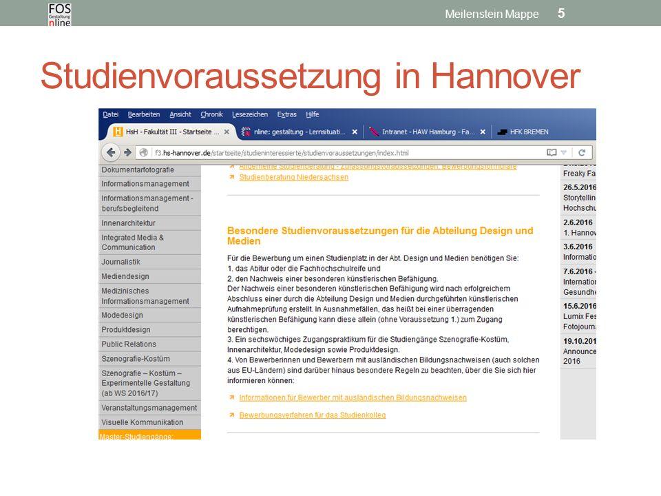 Studienvoraussetzung in Hannover Meilenstein Mappe 5