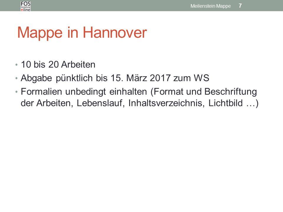 Mappe in Hannover 10 bis 20 Arbeiten Abgabe pünktlich bis 15.