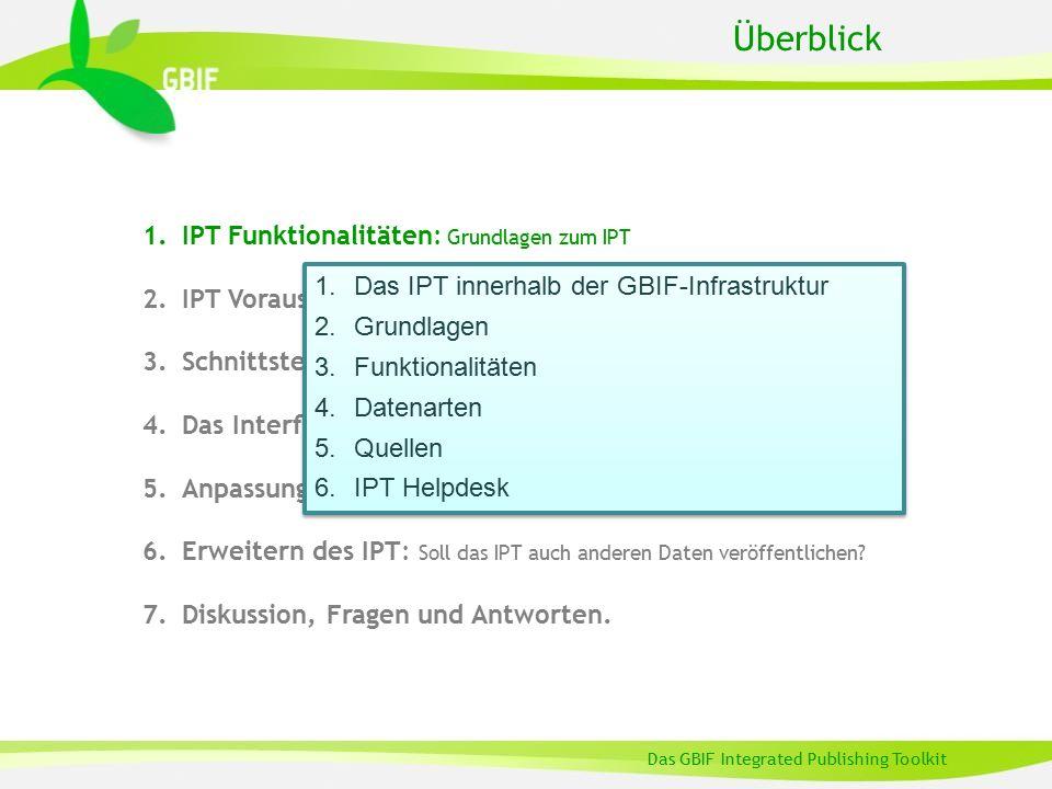 Einführung Dieser Vortrag gibt einen Überblick über die Eigenschaften und Funktionalitäten des GBIF Integrated Publishing Toolkit (IPT), einer Software zur Veröffentlichung von Biodiversitätsdaten im Internet.