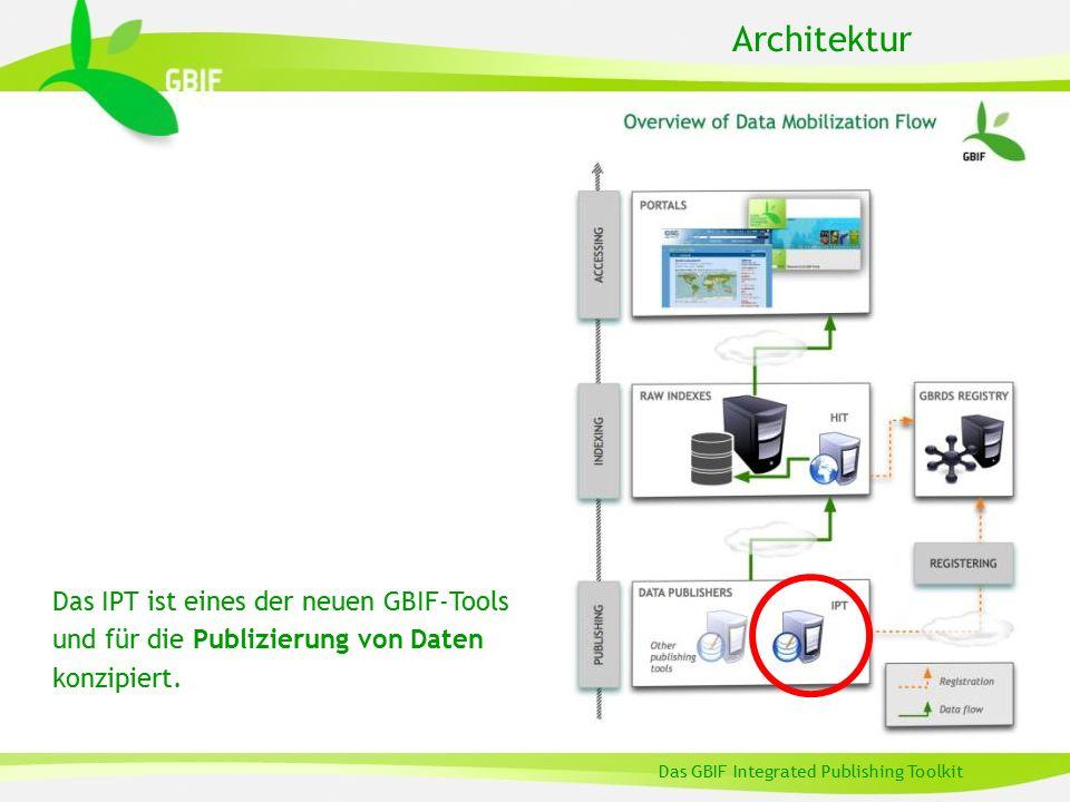 Definition Das GBIF Integrated Publishing Toolkit Eine Open-Source Java-Webapplikation … zur Anbindung dreier verschiedener Arten von Biodiversitätsdaten: l Primärer Occurrence-Daten (Verbreitung von Organismen) l Artnamen l Metadaten zu Resourcen … aus Datenbanken oder Textdateien … um sie im GBIF-Netzwerk öffentlich zugänglich zu machen Das IPT ist…