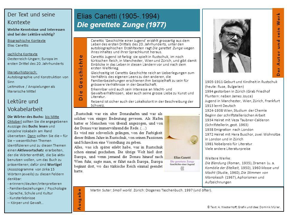 Elias Canetti (1905-.1994) Die gerettete Zunge (1977) Canettis 'Geschichte einer Jugend' erzählt grossartig aus dem Leben des ersten Drittels des 20.