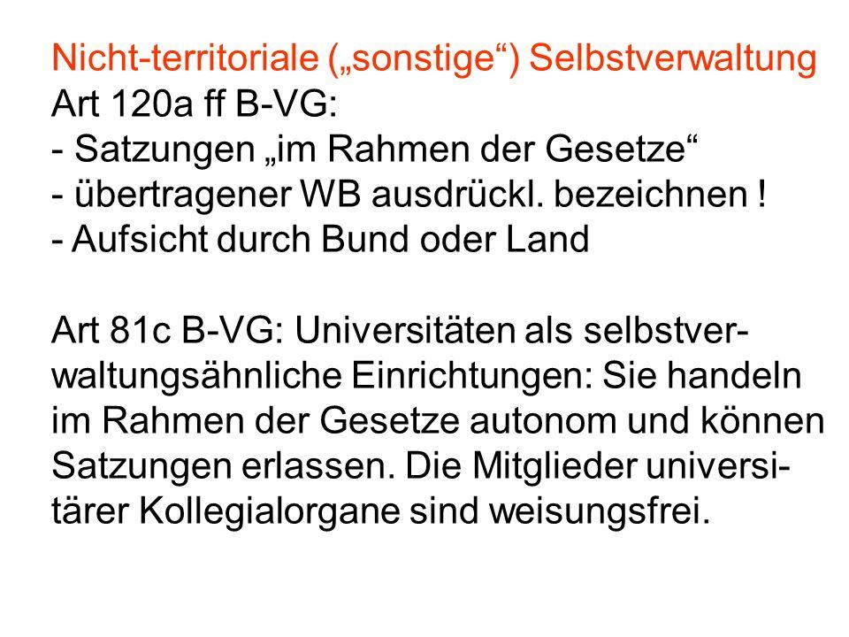 """Nicht-territoriale (""""sonstige"""") Selbstverwaltung Art 120a ff B-VG: - Satzungen """"im Rahmen der Gesetze"""" - übertragener WB ausdrückl. bezeichnen ! - Auf"""