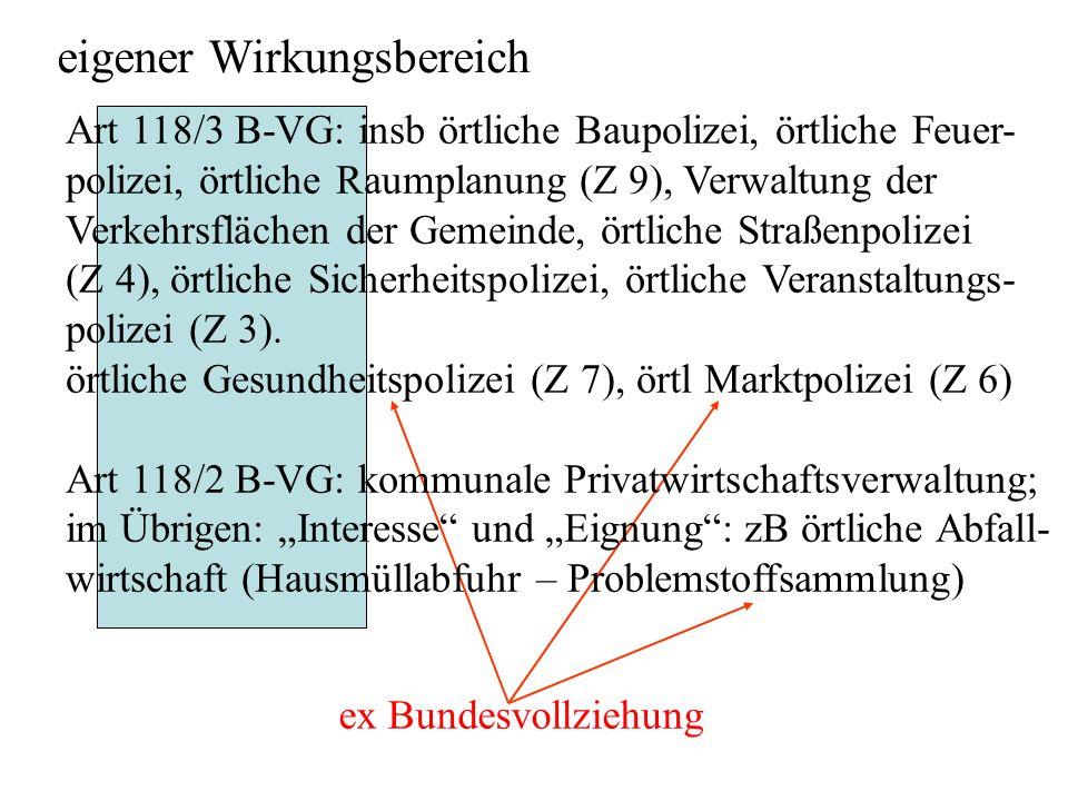 eigener Wirkungsbereich ex Bundesvollziehung Art 118/3 B-VG: insb örtliche Baupolizei, örtliche Feuer- polizei, örtliche Raumplanung (Z 9), Verwaltung