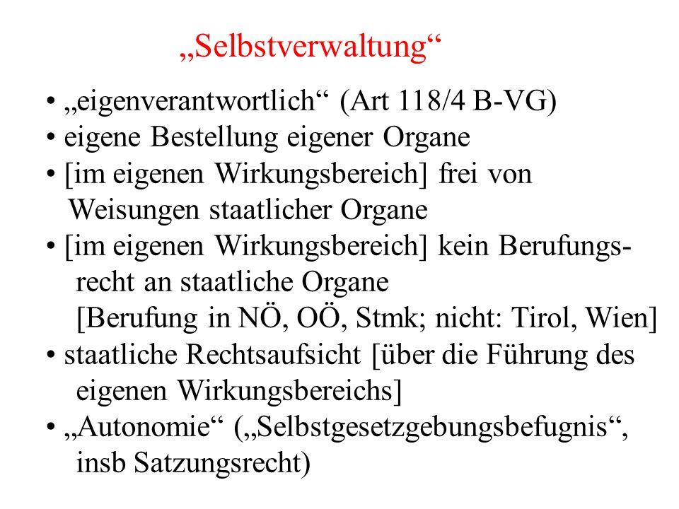 """""""Selbstverwaltung """"eigenverantwortlich (Art 118/4 B-VG) eigene Bestellung eigener Organe [im eigenen Wirkungsbereich] frei von Weisungen staatlicher Organe [im eigenen Wirkungsbereich] kein Berufungs- recht an staatliche Organe [Berufung in NÖ, OÖ, Stmk; nicht: Tirol, Wien] staatliche Rechtsaufsicht [über die Führung des eigenen Wirkungsbereichs] """"Autonomie (""""Selbstgesetzgebungsbefugnis , insb Satzungsrecht)"""