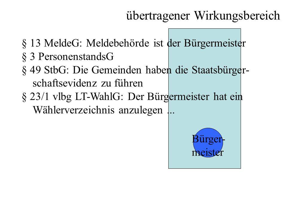 übertragener Wirkungsbereich Bürger- meister § 13 MeldeG: Meldebehörde ist der Bürgermeister § 3 PersonenstandsG § 49 StbG: Die Gemeinden haben die St