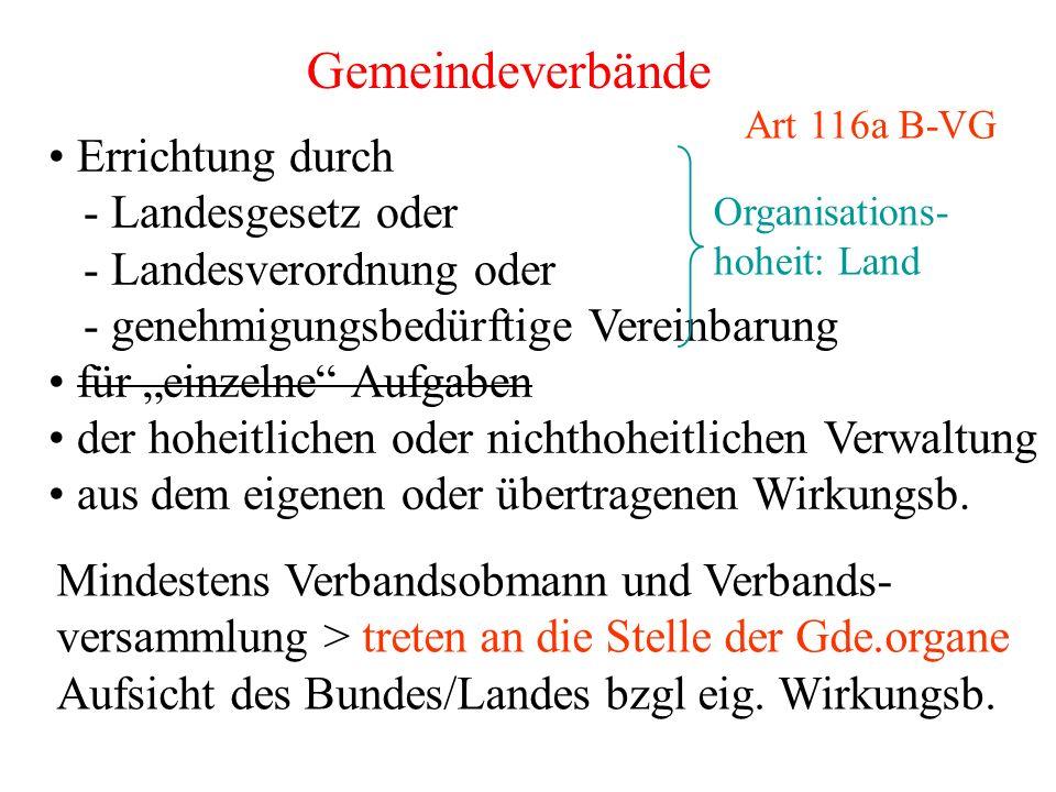 """Gemeindeverbände Errichtung durch - Landesgesetz oder - Landesverordnung oder - genehmigungsbedürftige Vereinbarung für """"einzelne"""" Aufgaben der hoheit"""
