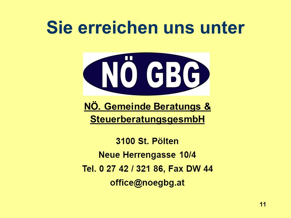 11 NÖ. Gemeinde Beratungs & SteuerberatungsgesmbH 3100 St.