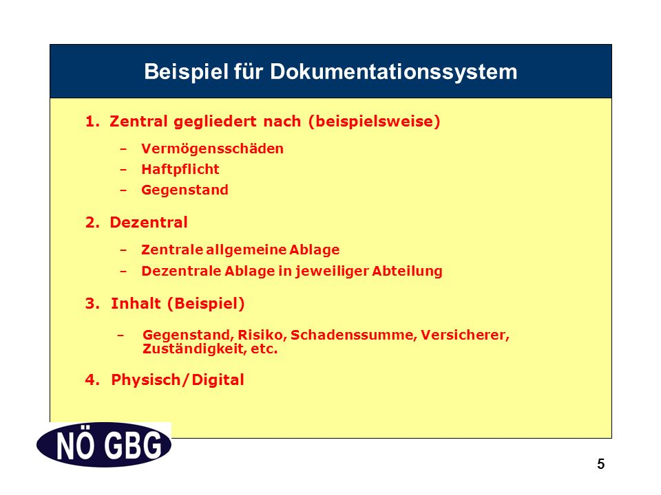 5 Beispiel für Dokumentationssystem 1.Zentral gegliedert nach (beispielsweise) –Vermögensschäden –Haftpflicht –Gegenstand 2.Dezentral –Zentrale allgemeine Ablage –Dezentrale Ablage in jeweiliger Abteilung 3.Inhalt (Beispiel) –Gegenstand, Risiko, Schadenssumme, Versicherer, Zuständigkeit, etc.