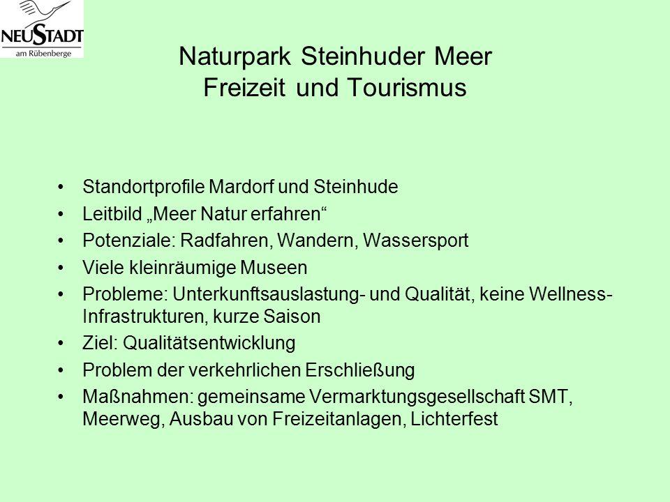 """Naturpark Steinhuder Meer Freizeit und Tourismus Standortprofile Mardorf und Steinhude Leitbild """"Meer Natur erfahren"""" Potenziale: Radfahren, Wandern,"""