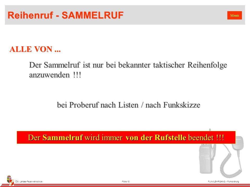Oö. Landes-FeuerwehrschuleFolie 10FUNKLEHRGANG - Funkordnung Menü ALLE VON...