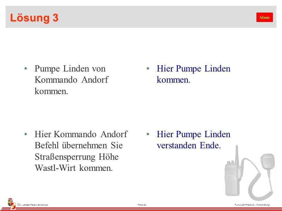 Oö. Landes-FeuerwehrschuleFolie 23FUNKLEHRGANG - Funkordnung Lösung 3 Pumpe Linden von Kommando Andorf kommen. Hier Pumpe Linden kommen. Hier Kommando