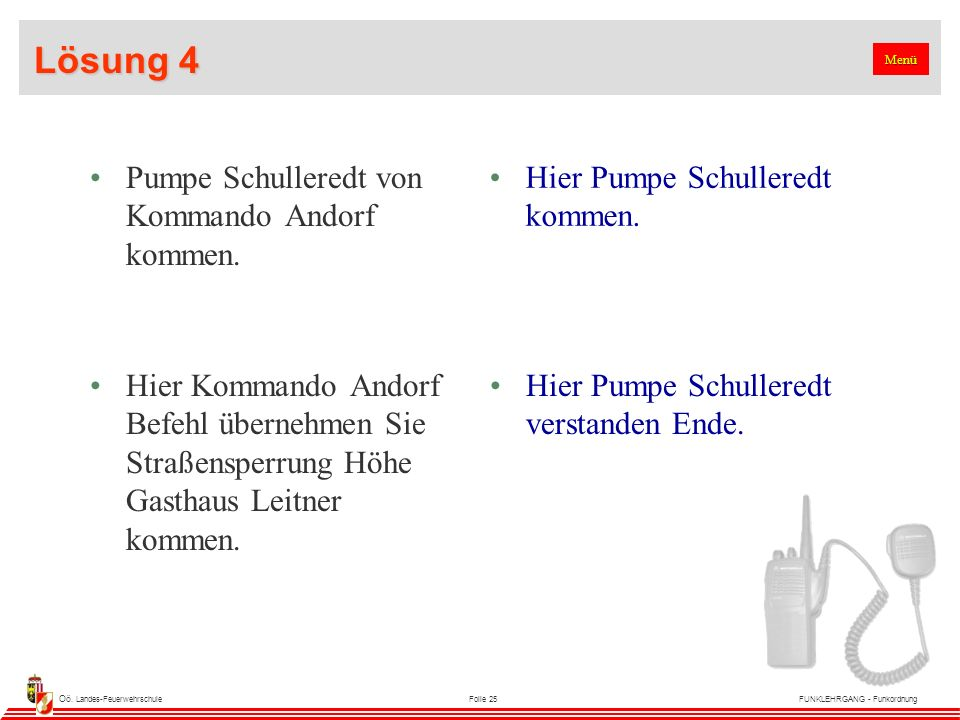 Oö. Landes-FeuerwehrschuleFolie 25FUNKLEHRGANG - Funkordnung Lösung 4 Pumpe Schulleredt von Kommando Andorf kommen. Hier Pumpe Schulleredt kommen. Hie