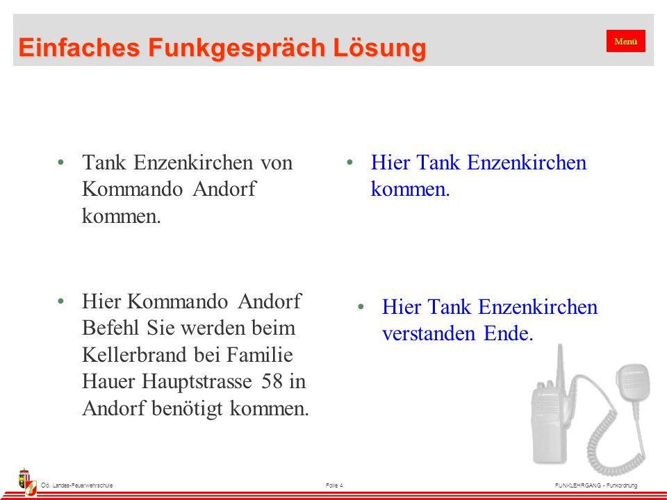 Oö. Landes-FeuerwehrschuleFolie 4FUNKLEHRGANG - Funkordnung Einfaches Funkgespräch Lösung Tank Enzenkirchen von Kommando Andorf kommen. Hier Tank Enze