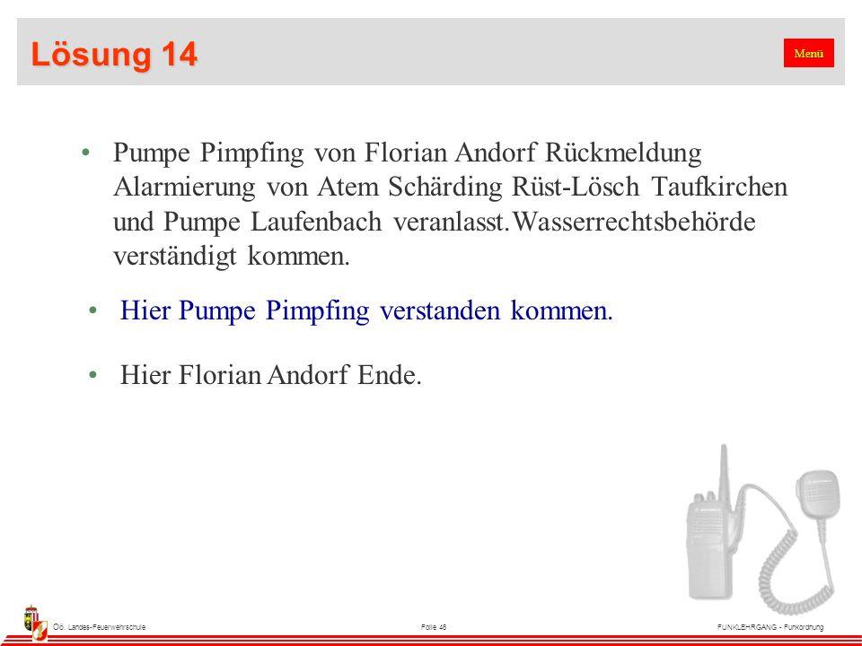 Oö. Landes-FeuerwehrschuleFolie 46FUNKLEHRGANG - Funkordnung Lösung 14 Pumpe Pimpfing von Florian Andorf Rückmeldung Alarmierung von Atem Schärding Rü