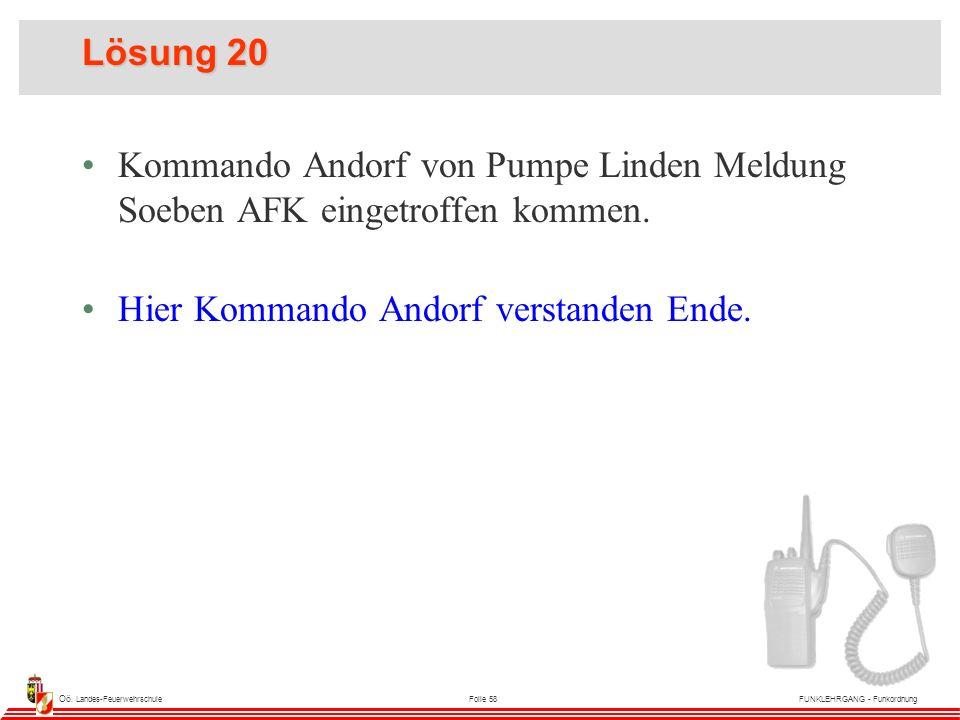 Oö. Landes-FeuerwehrschuleFolie 58FUNKLEHRGANG - Funkordnung Lösung 20 Kommando Andorf von Pumpe Linden Meldung Soeben AFK eingetroffen kommen. Hier K