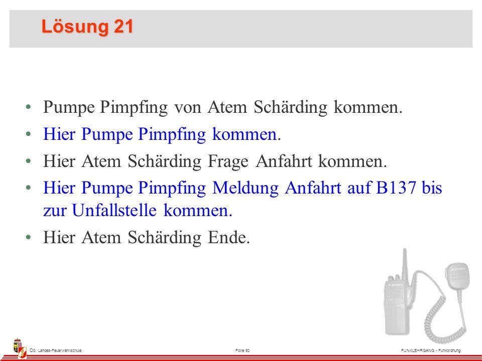 Oö. Landes-FeuerwehrschuleFolie 60FUNKLEHRGANG - Funkordnung Lösung 21 Pumpe Pimpfing von Atem Schärding kommen. Hier Pumpe Pimpfing kommen. Hier Atem