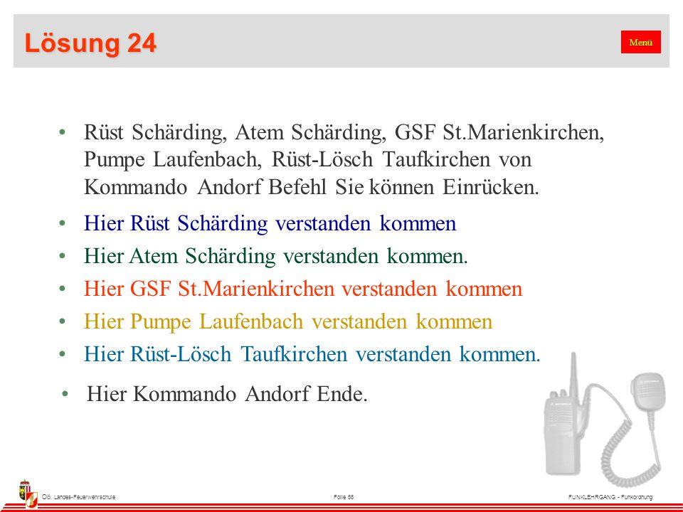 Oö. Landes-FeuerwehrschuleFolie 66FUNKLEHRGANG - Funkordnung Lösung 24 Rüst Schärding, Atem Schärding, GSF St.Marienkirchen, Pumpe Laufenbach, Rüst-Lö