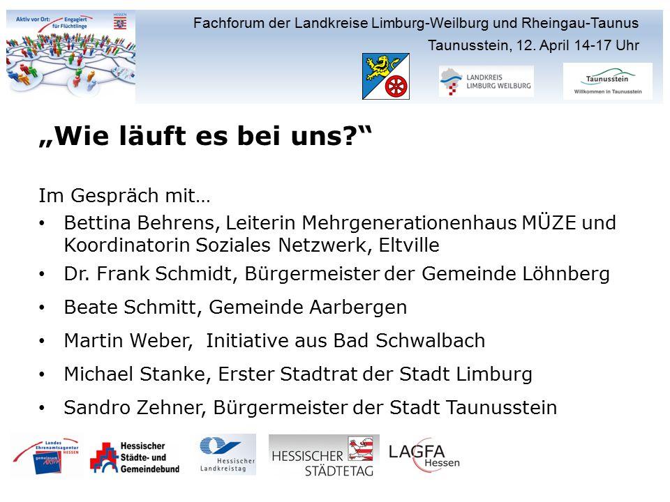 Fachforum der Landkreise Limburg-Weilburg und Rheingau-Taunus Taunusstein, 12.