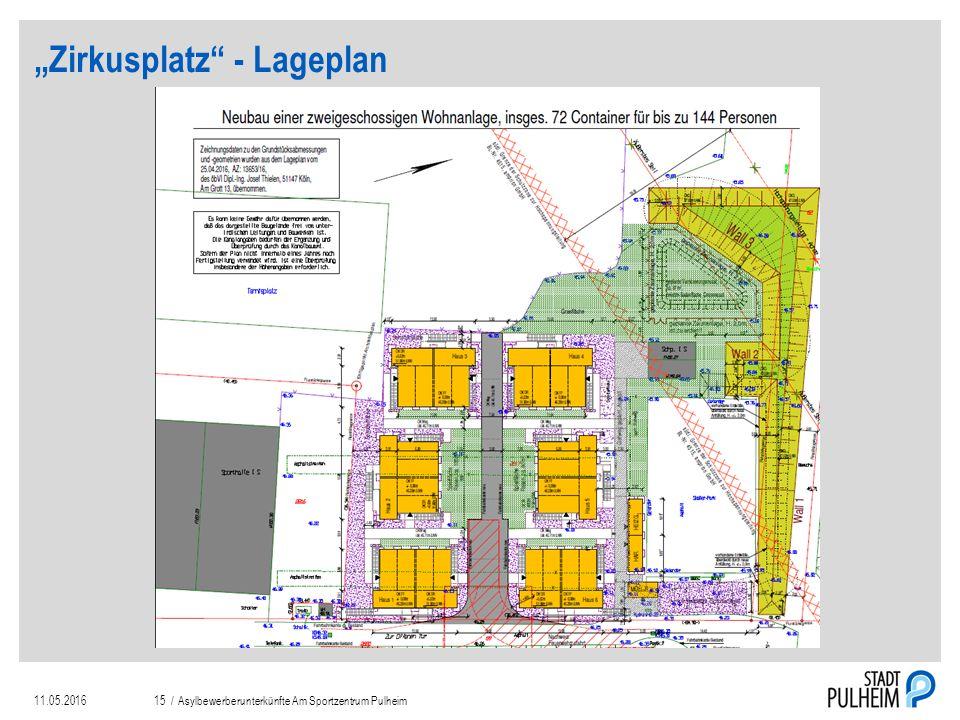 """""""Zirkusplatz - Lageplan 11.05.2016Asylbewerberunterkünfte Am Sportzentrum Pulheim15 /"""