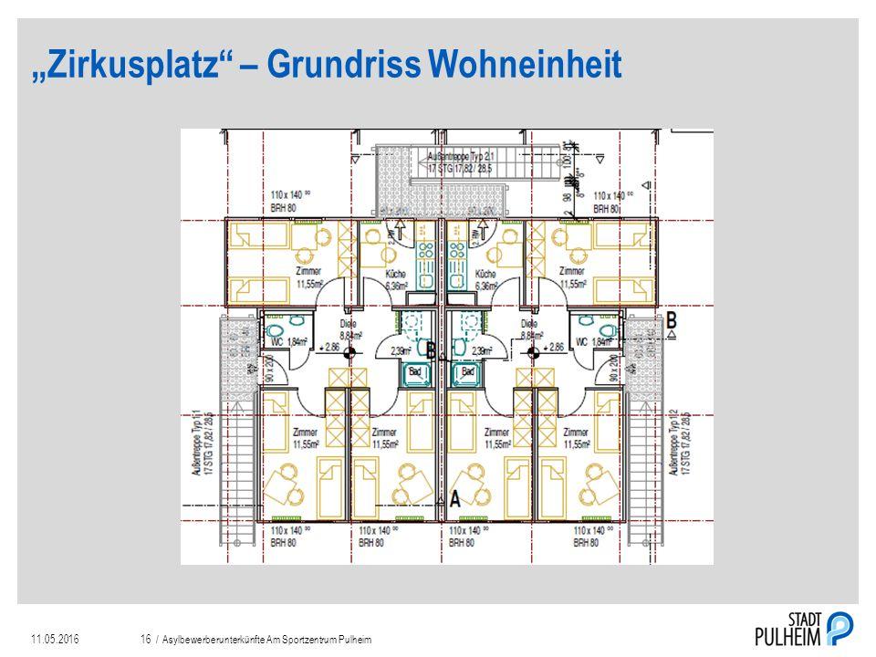 """""""Zirkusplatz – Grundriss Wohneinheit 11.05.2016Asylbewerberunterkünfte Am Sportzentrum Pulheim16 /"""